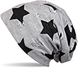 styleBREAKER Beanie Mütze mit Sterne und Vintage Punkte Muster, Unisex 04024046, Farbe:Hellgrau