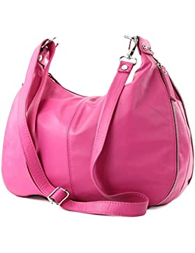 modamoda de - ital. Ledertasche Schultertasche Damentasche Umhängetasche Nappaleder T56