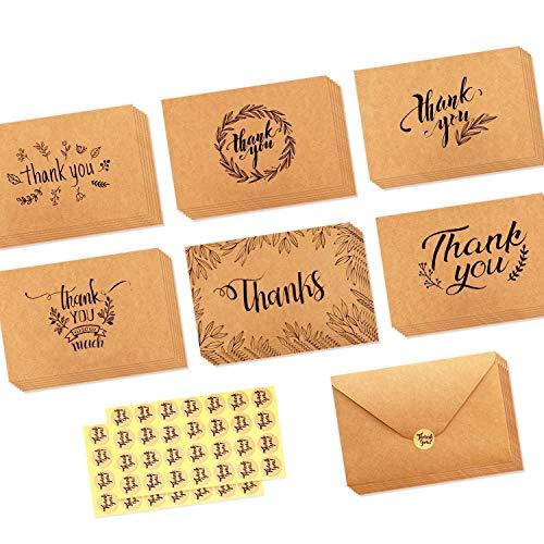 36 Pack Brown Kraftpapier Danke Karten Danke U Grußkarte W / 36 Kraftpapier Umschläge und 36 Stück Umschlag Danke Aufkleber für Hochzeit, Schulabschluss, Baby-Dusche, 7 x 10 CM