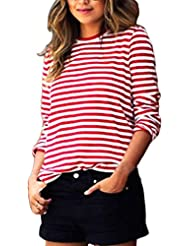 FEITONG Manga larga para mujer ocasional Cuello redondo de rayas Blusa de la camisa camiseta de las tapas