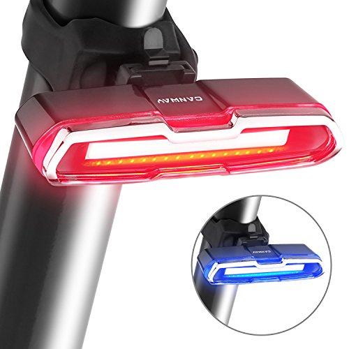 Canway Fahrrad Rücklicht Fahrradlicht Ultra Hell COB Fahrradbeleuchtung Fahrradlampe Fahrradrücklicht Fahrradhelme Lichter Rückleuchten Fahrradlichter Fahrradrückleuchte USB Wiederaufladbar Wasserdicht mit 5 Licht Modi Rot Blau Geeignet für Helm und Fahrrad
