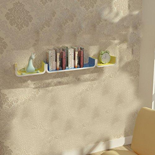 Wandregal Schlafzimmer Wohnzimmer TV Hintergrund Wand Dekoration Regal U-förmige Partition aus Holz Wandbehang Bücherregal -
