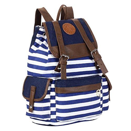 YuanDian Travel Bag Canvas Bag Casual Borsa A Tracolla Strisce Stampa Shoulder Bag Sacchetti Di Scuola Blu