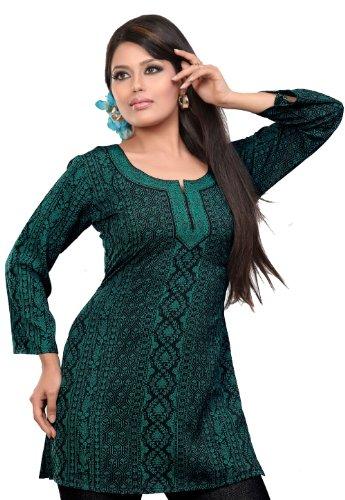 Gedruckte Kurti Top Tunika Damen Bluse Indien Kleidung (Grün, XL) (Kleidung Aus Indien)