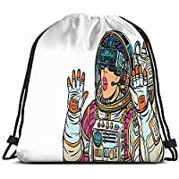 DIMAA Surprised Woman Astronaut Virtual Reality Glasses Science 3D Technology Drawstring Backpack Bag For Kids Boys Girls Teens Birthday, Gift String Bag Gym Cinch Sack For School And Party