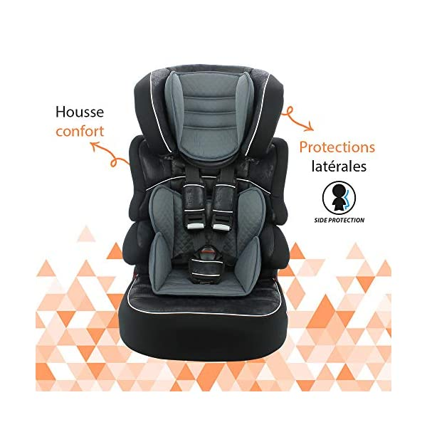 Child car seat Beline Grp 1/2/3 (9-36kg) with side protection - Nania Skyline black nania Booster seat with group 1/2/3 harness for children between 9 and 36 kg. The BELINE group 1/2/3 car seat is approved according to ECE R44/04 and is manufactured and tested in France. Beline car seat to transport your child in the car in complete safety. The car seat can only be installed facing the road in the back seat of the car. The car seat is secured with the 3-point seat belt and the child is secured with the 5-point harness. 5