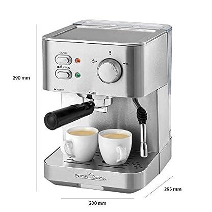 Profi-Cook-PC-ES-1109-Design-Espressomaschine-Edelstahlgehuse-abnehmbarer-Wassertank-Tassenvorwrmfunktion-inox