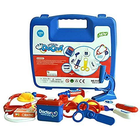 Jeu d'imitation,Covermason Pour enfants Kids rôle Play infirmières Docteur Toy Set cadeau de Noël de trousse médicale (bleu)