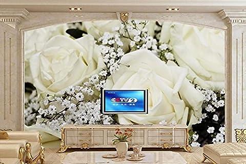 Cunguang Benutzerdefiniertes Papier für Wandplakate Wandbilder, Rosen, weissen Blumen Tapeten, Coffee Shop hotel Wohnzimmer Fernseher Sofa wand Schlafzimmer Wandbilder 1X2 M, Seide
