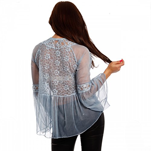 Damen Tunikabluse Boho Chic Bluse Transparent Blau
