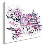 Feeby Frames, Tableau imprimé XXL, Tableau imprimé sur Toile, Tableau Deco, Canvas 60x80 cm, Cerisier Japonais, Abstraction, Violet