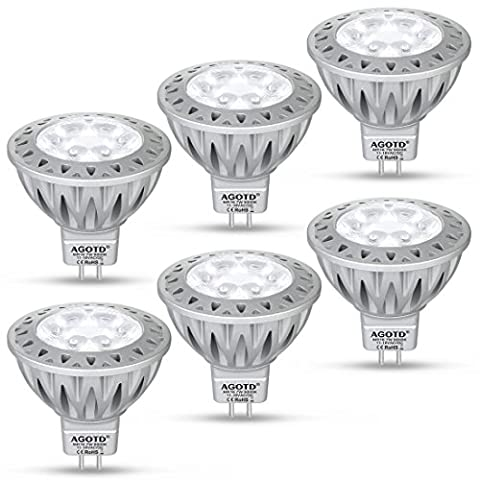 AGOTD MR16 GU5.3 12V LED Bulb Daylight White 6000K,7W, 50W