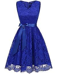 IVNIS Damen Floral Spitze Brautjungfern Kleid Knielang V Ausschnitt  Cocktail Partykleid Abendkleider 8cb2031816