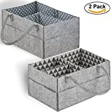 Cartik Baby Diaper Caddy Organizer Set Of 2 - Nursery Basket With Handles - Baby Diaper Storage And Changing Table Organizer 2-Pack - Perfect Baby Shower Gift Basket For Newborn Girls And Boys