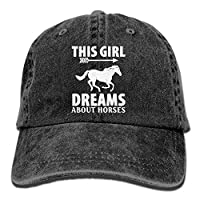 Miedhki Unisex Adjustable Yarn-Dyed Denim Baseball Caps This Girl Dream About Horses Cap Design12