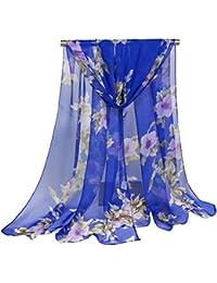 SHANGWU Foulard de Georgette de Mode des Femmes imprimé écharpes de Soie  Fine écharpe ... bb259465dd9
