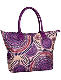 IWEA Damen Shopper Handtasche Schultertasche in Psychedelic Ethno Blumen Print Henkeltasche IW020