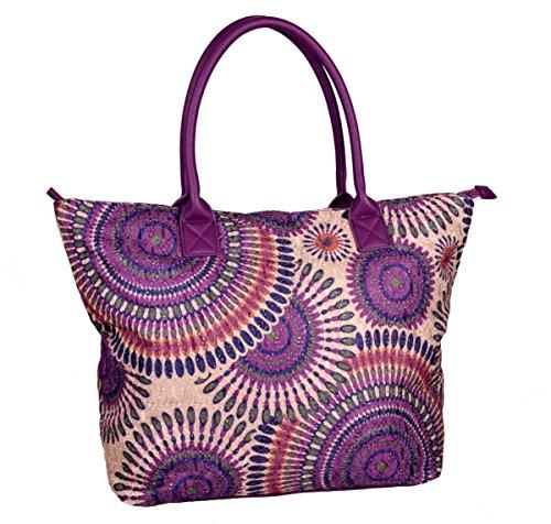 IWEA Damen Shopper Handtasche Schultertasche in Psychedelic Ethno Blumen Print Henkeltasche IW020, Lila (Blumen-print-handtasche)