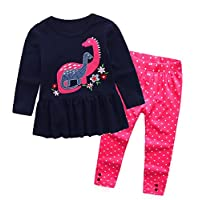 Little Girls Long Sleeve 2-Piece T-Shirt & Legging Pant Set(Dinosaur,18 Months-6 Years)