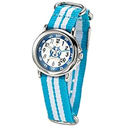 Olympique de Marseille Boys 'Watch - Analogue Quartz - White Dial - Bracelet - om8011 Nylon Bicolore