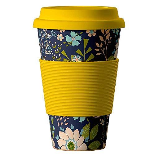 Bambus Becher wiederverwendbare Kaffeetasse mit dichtem Deckel, Trinkloch und Silikonhülle - Bamboo Eco ECoffee Cup - lebensmittelecht und spülmaschinenfest 400 ml Gitarre