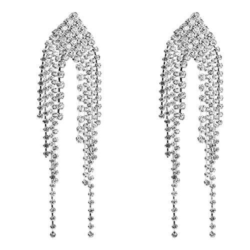 Acryl Diamant Quaste Langen Abschnitt Ring Weiblichen Temperament Ohrringe, Silber (Diamant-schwester-ring)
