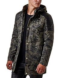 Burocs Herren Parka Jacke Lang Gesteppt Zipper Camouflage Khaki Camo 88016 57248d23ba
