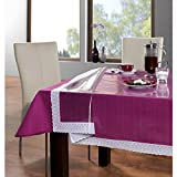 #9: Freelance PVC Plastic Transparent Clear Dining Table Cover Cloth Tablecloth Waterproof Protector, 4 - 6 seater, 54 X 78 inches, Rectangle (with golden-laced Edges), product of Meiwa, Japan