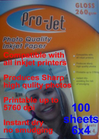 ProJet 6x4 Gloss Glossy 260 gsm photo inkjet printer paper 100 Cards Sheets