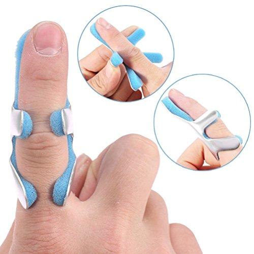 Frosch Schienen (Frosch Typ Fingerschiene, 1 Paar Finger Richtstrebe mit gepolsterten Aluminium Fixing Support Pad für Sehnenfreigabe und Schmerzlinderung(S))