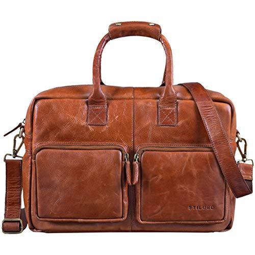 acc8290b4 STILORD 'Henri' Bürotasche Leder 15,6 Zoll Vintage Laptop Aktentasche  Businesstasche Umhängetasche Lehrertasche