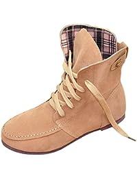 Minetom Otoño Invierno Botas Calentar Botines Planos Chic Martin Botas de Nieve Lazada Zapatos para Mujer