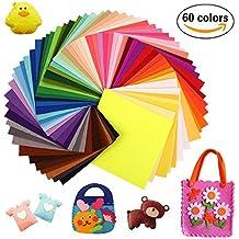 Sunerly 60 colores de fieltro Fichas de pannolenci bricolaje tela de poliéster para coser artes de costura de la tela de la tela DIY remiendo 15cmx15cm + 100pcs animada Googly ojos