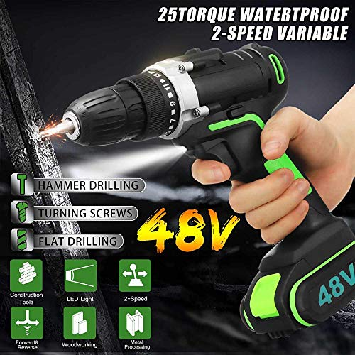 fish 48V Cordless Electric Drill Hammer Wrench Double Speed Adjustment LED Lighting Carpentering Tools Screwdriver Power Tools,1 Battery -