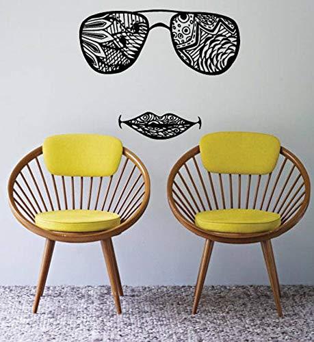 Ceciliapater 1025b - adesivo da parete per finestra, occhiali da sole, labbra, motivo indiano, henné, tatuaggio, yoga, studio
