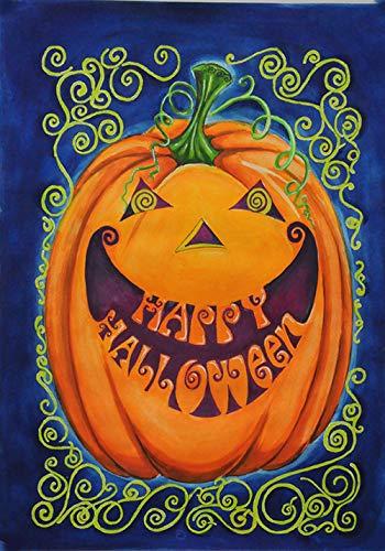 Godlove Home Garden Happy Halloween 31,5x45,7 cm Dekorative gruselige Jack-o-Lantern Kürbis ()