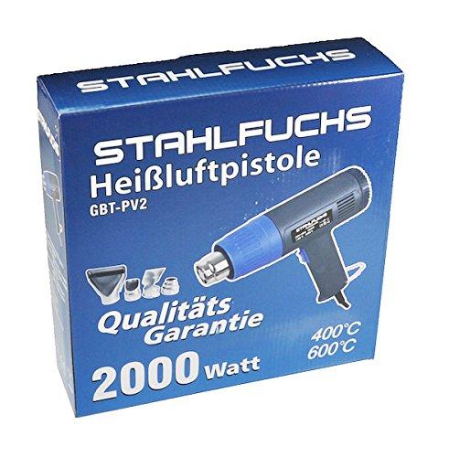 Stahlfuchs - Pistola ad aria calda, 2000W, 400° e 600° C, 2livelli, compreso 4 accessori(2a generazione), GP2.EV