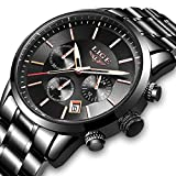 Herren Uhren LIGE Männer Militär Wasserdicht Sport Chronograph Schwarz Edelstahl Armbanduhr Design Business Datum Kalender Modisch Analog Quarzuhr