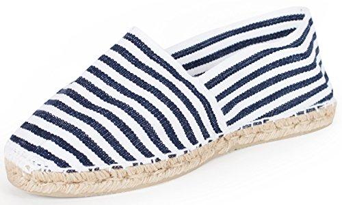 Sommerlatschen Espadrilles, Handmade, Blau-Weiß gestreift, Unisex, SL1271 mehrfarbig (blau-weiß gestreift)