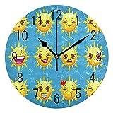 Domoko Home Decor Cartoon Sun Emoji-Face Acryl, Rund Wanduhr Geräuschlos Silent Uhr Kunst Wohnzimmer Küche Schlafzimmer