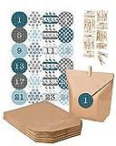 DIY Adventskalender Set zum Basteln und Selberbefüllen mit Weihnachtssticker in blautönen - Papiertüten Klammern Zahlensticker