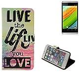 K-S-Trade Für Hisense HS-U980BE-2 Schutz Hülle 360° Wallet Case ''live Life Love'' Schutzhülle Handy Tasche Handyhülle Etui Smartphone Flip Cover Standfunktion (1x)