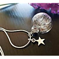 Collar del diente de león Dijes de estrella En plata de ley 925 con Caja de Regalo personalizado cadena Y amuleto Colgante de cristal regalo de cumpleaños para niñas regalo del dia de las madres