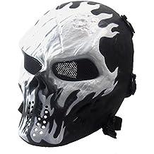 Airsoft Paintball Forma Del Rostro de Calavera La TáCtica Militar de Halloween Mascara de Esqueleto CS (Blanco)