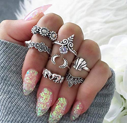ZUXIANWANG Ring Vintage Elephant Hand Ring Sets für Frauen Mann antiken türkischen Geometrische Achsschenkel Ringe Schmuck 7 pcs/Set, B (Männer Antiken Ring)