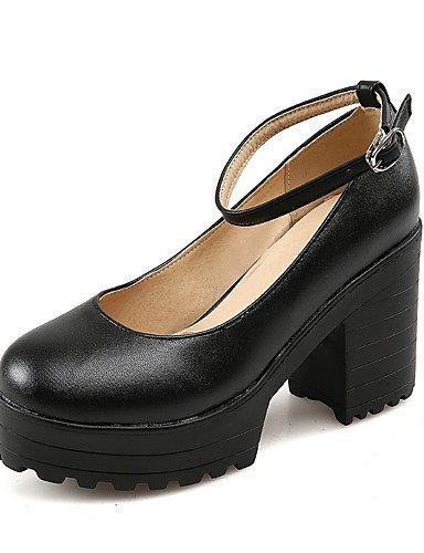 WSS 2016 Chaussures Femme-Habillé-Noir / Blanc-Gros Talon-Talons / Bout Arrondi-Talons-Similicuir white-us8 / eu39 / uk6 / cn39
