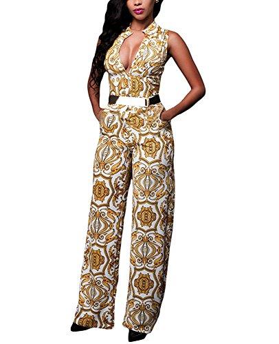 Cfanny Femmes Sexy Col V Sans Manche Palazzo Patte Éléphant Pantalon Combinaison Jaune blanc