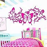 Modeganqingg Elegante Schmetterlingsaufkleber Nordischer Stil Wohnkultur Schlafzimmer Dekoration Vinyl Art Deco Fuchsia XL 58cm X 27cm