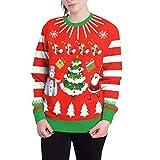 Felpe Stampa Giacca Felpa con Cappuccio Natale Cappotto Casual Maglione Tasche Top Autunno Inverno, Pullover Donna Qinsling