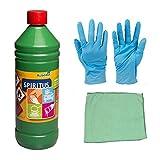 1 Liter Spititus zur Reinigung, Verdünnung, Frostschutz in Sicherheitsflasche inkl.Microfasertuch zum Auftragen und Nitril Handschuhe (Spiritus 1 Liter)